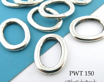 Oval Pewter Jump Ring Connector Closed Large 20mm x 15mm (PWT 150)  12 pcs BlueEchoBeads