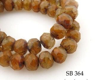 8mm Czech Glass Beads Rondelle, Pumpkin Spice, Orange  8mm x 5mm (SB 364) 12 pcs BlueEchoBeads