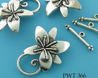 ON SALE Pewter Flower Toggle Antiqued Pewter Flower Clasp 29mm (PWT 366) 3 sets