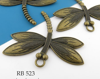 Large 60mm Antique Brass, Antique Bronze, Dragonfly Charm, Pendant, (RB 523) 1 pc BlueEchoBeads