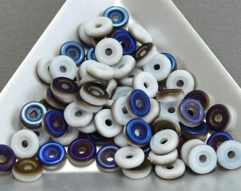 Czech Wheel Beads 6mm Chalk Azuro Matte 9 grams