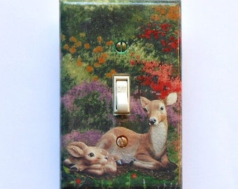 5 CHOICES- Animal & Nursery switch plates w/ MATCHING SCREWS- Nursery wall children's stuff animal characters kids stuff giraffes deer dogs