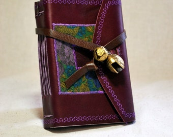 Small Plum Leather Journal with Bells