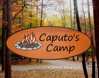 Custom Camp Sign - Large Oval Custom Carved Wood Sign - Campfire Graphic -  Family Name Cedar Sign