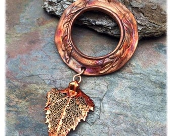 Fall Splendor Copper Wreath Leaf Necklace by Marta Weaver Jewelry, Ready to Ship