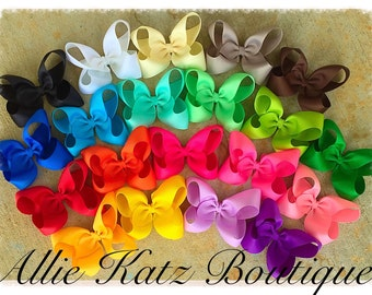 """Boutique Hairbow set 20 colors 4.5"""" across Rainbow Variety Pack Bows"""