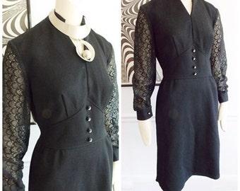 vintage 1960s Black Dress with Lace Sleeves /60s mod dress / 60s black wiggle dress/ rhinestone dress