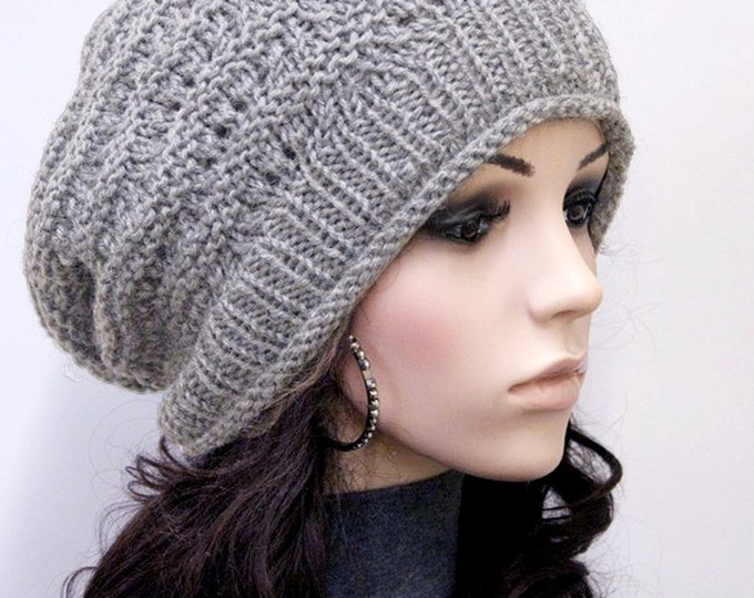 Hand Knit hat unisex hat winter hat grey hat Wool Hat, slouchy hat