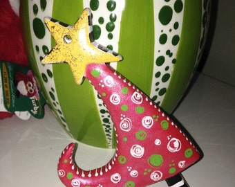 Hand Painted Whimsy Tree Christmas Ornament, Bright Metallic Red with White Polka Dots and sparkles.
