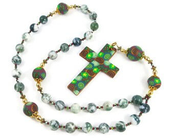 Moss Agate Anglican Rosary Prayer Beads Protestant Episcopal Handmade Polymer Clay Cross and Focal Beads Spirituality & Religious