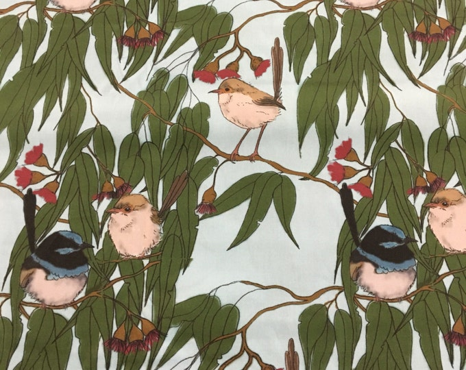 Original Blue Wren or Supurb Fairy Wren in colour Fabric by Cindy Watkins  cotton
