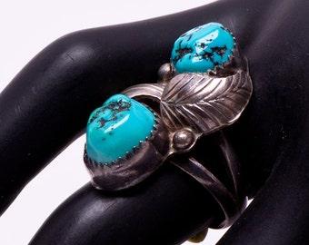 Navajo Turquoise Ring - 70s Kingman Double Stone -  sz 7