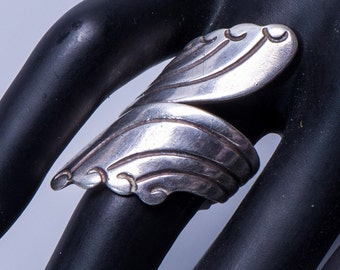 Sterling Taxco Bypass Ring - 40s/50s Mexico Southwestern Wrap - sz 6 1/2 - Best Buy