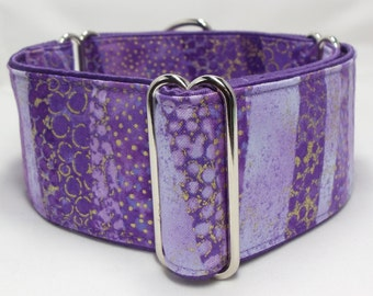 Lavender Shimmer Greyhound, Whippet, Galgo, Pit Bull, Dog Sighthound Martingale Collar