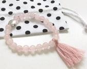 LITTLE gurus rose quartz mala bracelet for kids