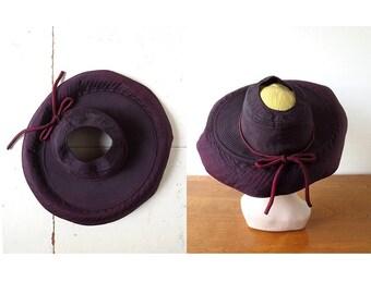 Vintage 40s Hat / Aubergine / Wide Brim Hat / 1940s Hat / Size 22