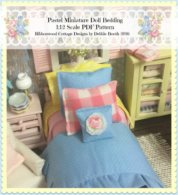 A Sewing Pattern PDF Dollhouse Miniature Spring Pastel  Full Bedding Set  pattern 1:12 scale
