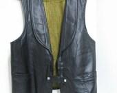 Vintage Black Leather Vest Jo-O-Kay Biker Motorcycle Rock & Roll Rocker Hippie Boho Western Vest