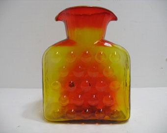 Blenko Pitcher Vase with Double Water Spout, 1958-1961 Bubble Wrap Tangerine Glass Decanter, Mid Century Amberina Bottle