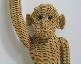 Vintage Wicker Monkey Mid Century Hanging Monkey Zoo-Line Era