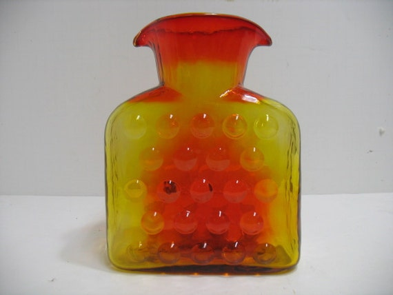 Vintage Blenko Pitcher Glass Vase with Double Water Spout, 1958-1961 Bubble Wrap Tangerine Decanter, Mid Century Glass