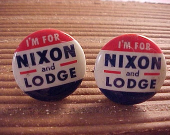 Vintage Political Campaign Button Cuff Links - Nixon and Lodge - Free Shipping to USA