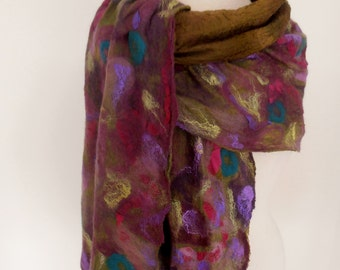 RESERVED Nuno felted scarf wrap Merino Silk  by plumfish dark olive plum