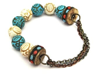 Half Stretch Mixed Metal Multi Strand Chain and Magnesite Beads Bracelet in Turquoise and Ivory rustic country boho chic