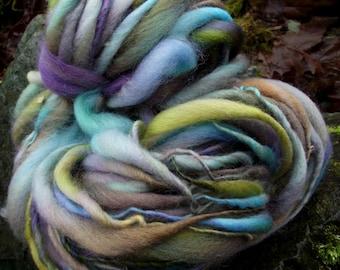Handspun yarn, handpainted wool yarn, Organic Polwarth wool art yarn super bulky  Titania