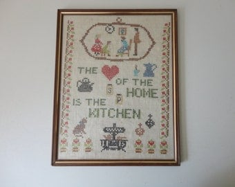 VINTAGE 'the heart of the home is the kitchen' framed CROSS STITCH