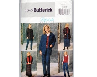 A Line Skirt Pattern, Pants, Vest and Loose Fitting Shirt Jacket  Butterick 4035 Size 14 16 18