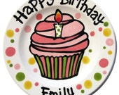 """7"""" KILN FIRED Happy Birthday candle cupcake personalized Plate custom ceramic"""