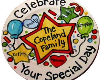 """CUSTOM Large star hearts 10"""" Celebrate your family special day birthday or accomplishment plate Party style"""