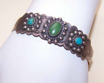 Vintage (C.1930) NATIVE AMERICAN Coin Silver & Turquoise Cuff Bracelet