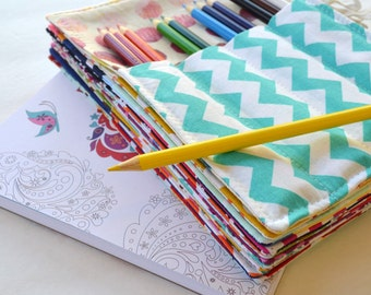 Birthday Party Favors . SALE . Set of 10 Colored Pencil Rolls . 12 Colored Pencils Included . Wedding Favors . Art Birthday Party