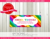 Rainbow Printable Return Address Label : Rainbow Background - Personalized Girl Label  -  Rectangular Return Address - Item BD111