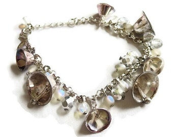 Vintage AVON Tinkling Bell and Crystals Charm Bracelet