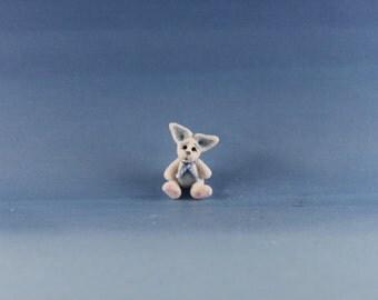 Miniature Handmade Blue Easter Bunny, Dollhouse Baby Nursery Toy, Ooak, Artist Doll, Cheryl Brown