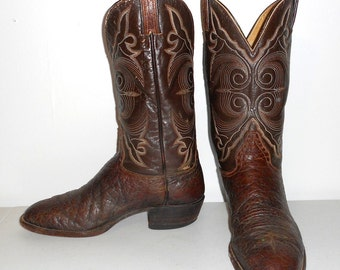 10 D Mens Cowboy Boots Vintage Hondo Brown Distressed Urban Country Rockabilly
