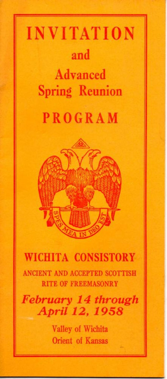1958 Freemason Invitation And Program Wichita Ks