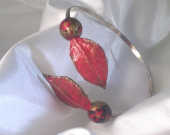 Sterling Silver and handmade paper adjustable bracelet in red