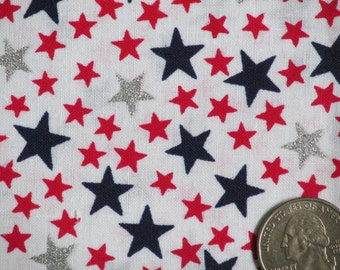 """Fabric Traditions All Cotton Fabric 45 """" wide BTY White with Red, Blue, and Silver Metallic Stars 2002 OOP Americana Patriotic"""