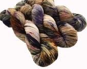 "Sock yarn, sw BFL nylon, hand dyed, TREAD ""Johnny Jump Up"", 465 yds, speckled"