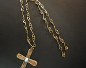 Vintage Rustic, Brutalist Design Crucifix / Cross on Necklace with Turquoise Cabochon