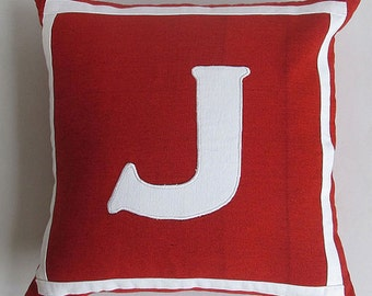 red and white initial pillow cover.  monogrammed  pillow. Letter pillow Custom made  -14 inches-