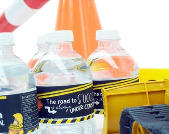 Construction Party Custom Water Bottle Labels - Road Crew Water Bottle Labels - Water Bottle Wraps - Road Construction Water Bottle Stickers