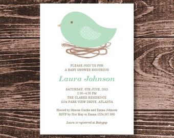 Bird Nest Baby Shower Invitation – DIY Printable Personalised – Gender Neutral (Digital File)