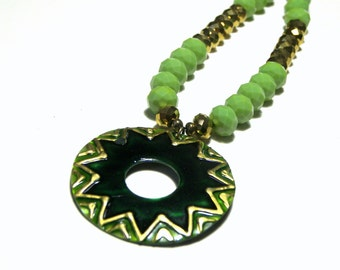 Mother of Pearl Pendant Green Disk Pendant Crystal Statement Necklace Beaded Jewelry Top Selling Jewelry Womens Pendants Gifts for Her Boho