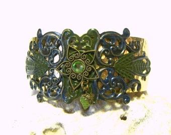 Filigree Brass Cuff Top Selling Jewelry Popular Jewelry Hippie Boho Ethic Tribal Blue Green Elfin Pixie