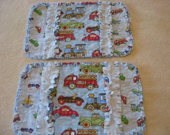2 New Handmade On The Go Trains Trucks Cars Baby Boy Burp Cloths with Minky backing